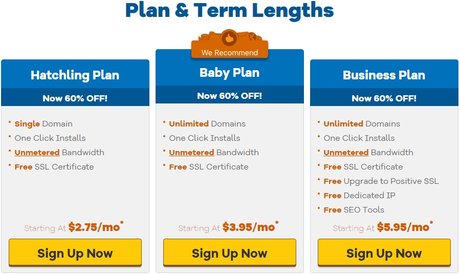 Shared Hosting packages of HostGator