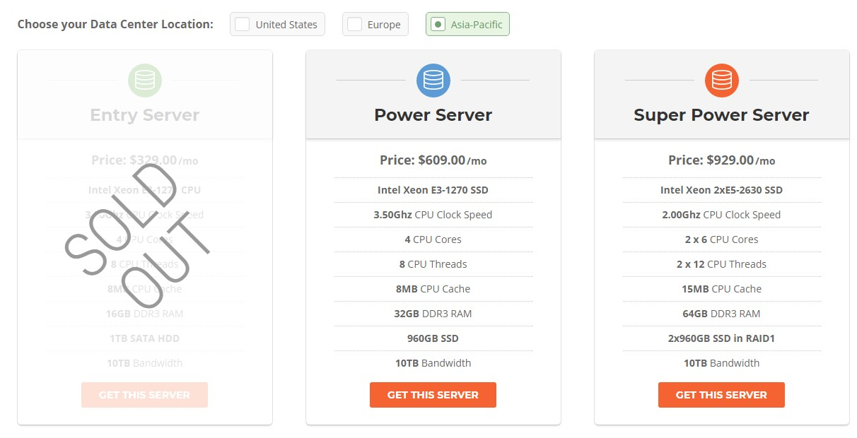 SiteGround's Asia-Pacific Dedicated Hosting plans