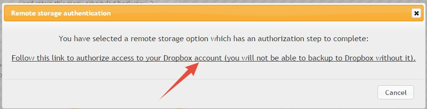 Authenticate Dropbox