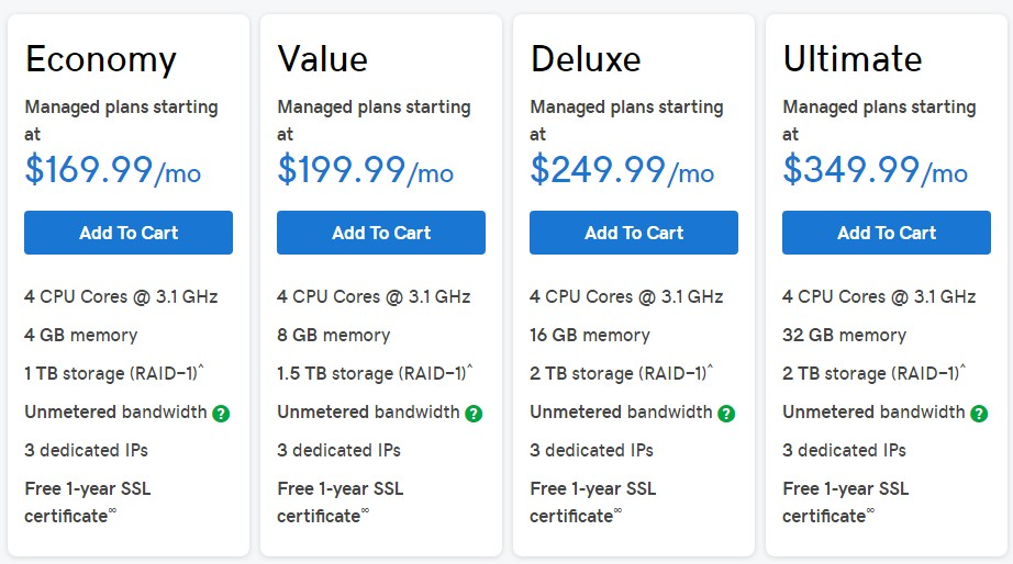 GoDaddy's Dedicated Linux Hosting plans