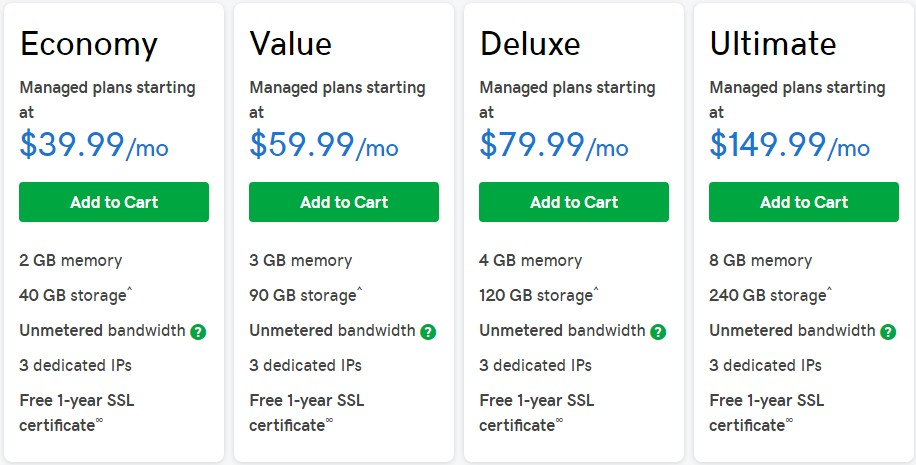 GoDaddy's VPS Windows Hosting packs