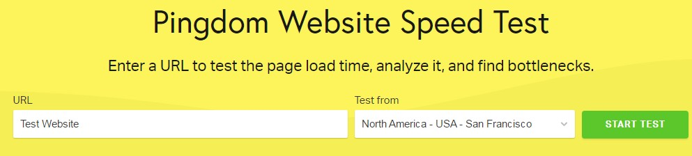 (Pingdom) Page speed test on Bluehost