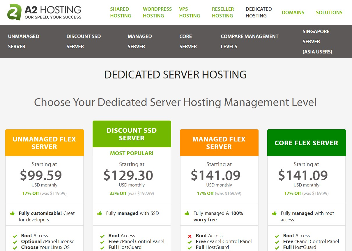 A2 Hosting Dedicated Web hosting Malayisa