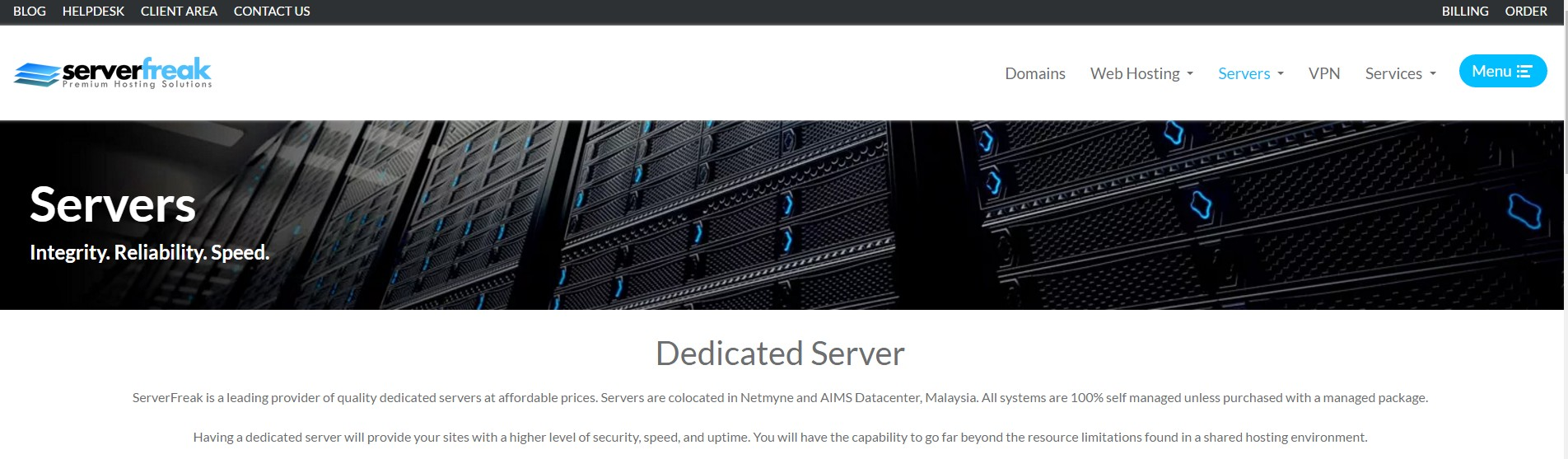 ServerFreak Dedicated Web hosting Malayisa