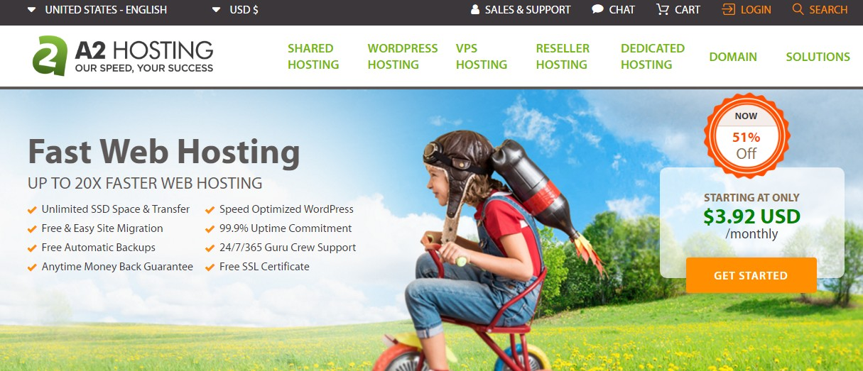 DreamHost alternative A2 Hosting