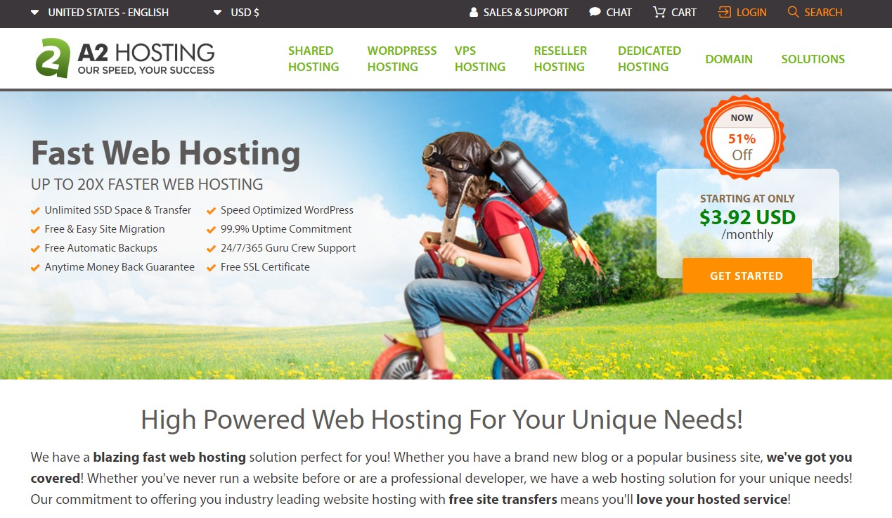 Best Web Host for eCommerce Online Store A2 Hosting