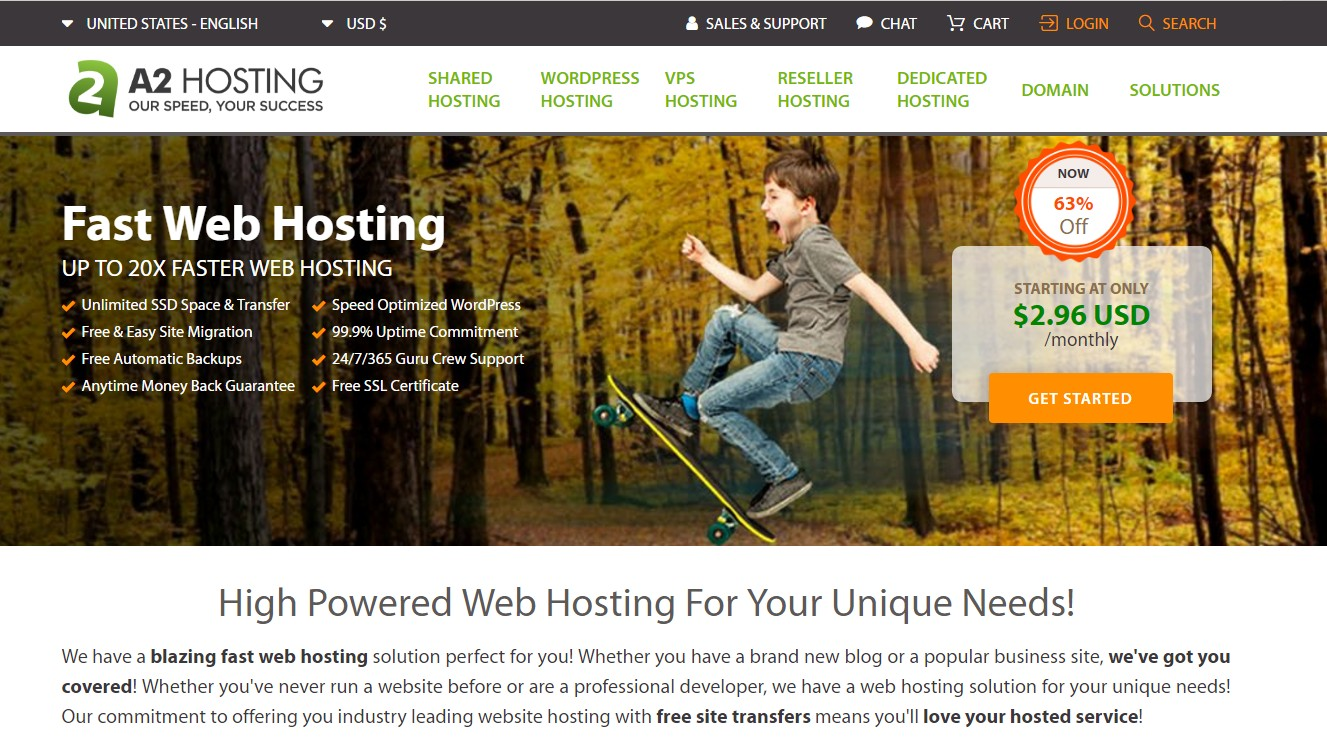 Top Web Host For SEO A2 Hosting