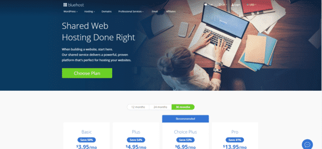 bluehost best malaysia web hosting with free domain